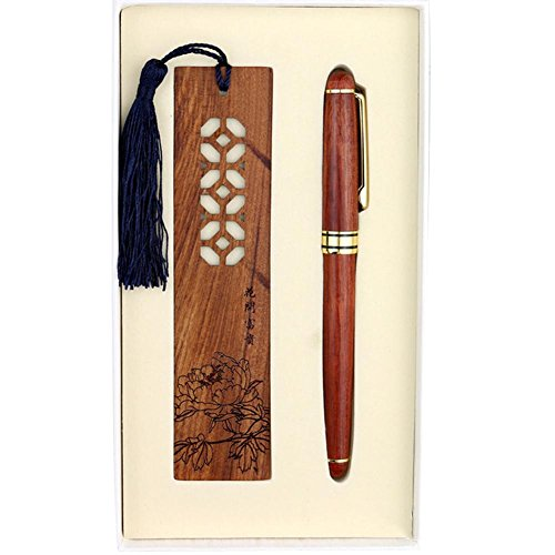Gel style chinois Pen Rollerball Pen Bois Sculpté Bookmark Set, Blossoming