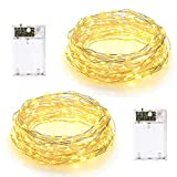 2 Pack) LED Fairy String Lights 10M, 2 Lighting Modes, Battery Powered, 100LED Decorative Silver Wire Light, for Bedroom Wall Christmas Party Wedding Birthday Decoration, Warm White