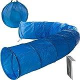 Anaterra Hundetunnel Spieltunnel Agility Tunnel mit Zeltnägel und Tragetasche blau