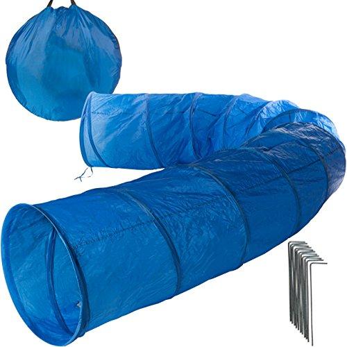 Anaterra Hundetunnel Spieltunnel Agility Tunnel mit Zeltnägel und Tragetasche blau 2 m / 5 m Länge