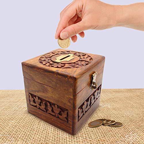 Banco de Dinero de Madera, Trabajo de Talla Cuadrada del diseño con la Caja de Moneda de la Cerradura, Caja de Dinero, Hucha