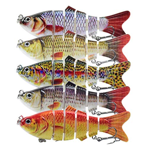 Lixada Fishing Lure Set 5PCS Multi Jointed Segment Swimbait Lifelike Hard Bait Crankbait Treble Hooks 3D Eyes Popper Crankbait Vibe Sinking Lure for Bass Trout Perch