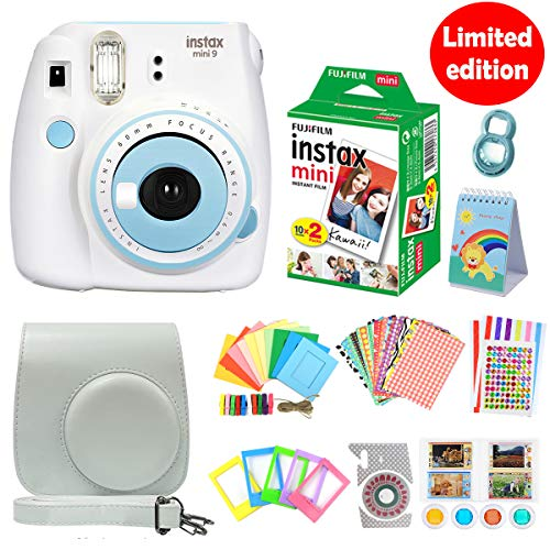 Great Price! Fujifilm Instax Mini 9 Instant Camera Smokey White&Blue Set Automatic Instant Film Phot...