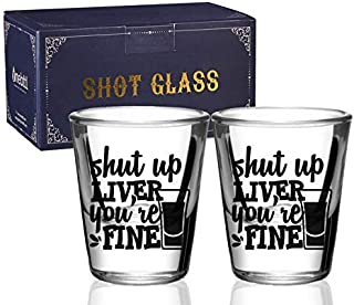 Shot glasses Set of 2, Funny drinking gifts for Men, Women drinking Absinthe, Bourbon, Whiskey, Rum, Vodka, Tequila, Gin, ...