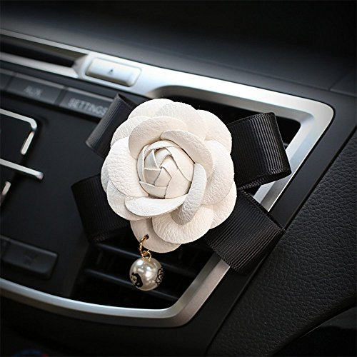 Follicomfy Car Air Conditioner Vent Freshener Clip Auto Camellia Essential Oil Gift Decor Accessory,White Flower