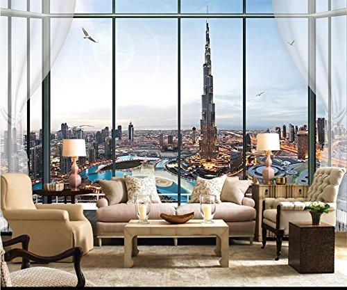 Yosot 3D behang op maat foto muurschildering woonkamer raam Dubai Tower 3D schilderij TV-bank achtergrond niet-geweven behang voor muur 3D 140cmx100cm
