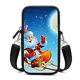 Bolso de teléfono móvil Crossbody con correa de hombro extraíble Navidad Santa Moon resistente al desgaste bolsa caso para teléfono muñeca monedero al aire libre bolsas mujeres