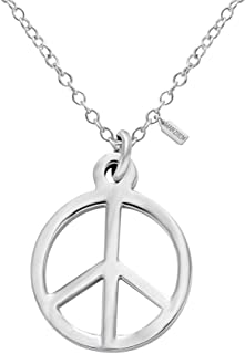 MANZHEN Silver Tone Peace Sign Symbol Pendant Charm Necklace Stainless Steel 18''