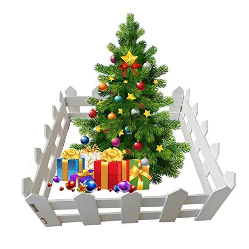 GZHENH Valla De Jardín Cercado De Madera, Árbol De Navidad Decoración Miniatura Familia Césped Valla Fronteriza Plegable, 2 Tamaños (Color : White-4pcs, Size : 50x20cm)