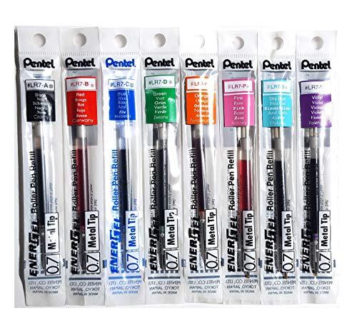 Pentel LR7 EnerGel Lot de 8 recharges pour stylo à encre gel Pointe en métal 0,7 mm Noir, bleu, rouge, vert, orange, rose, bleu ciel, violet