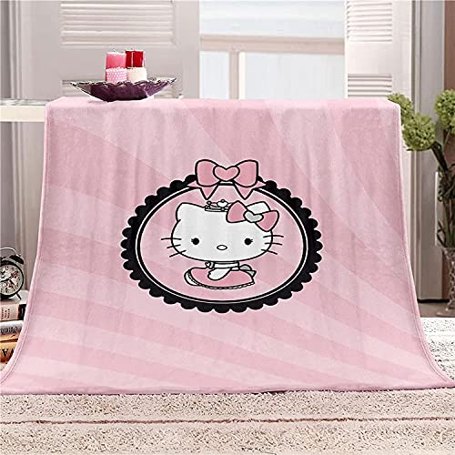 WANGHU Hello Kitty Cuddly Blanket Anime Blanket Blanket per Bedroom, Bed, divano, Chair, Living Room, Air Conditioning, Cool Blanket (8,100 cm x 130 cm)