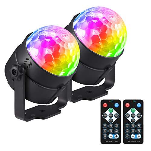 Moukey 2 Luci Discoteca LED Luce Palla Discoteca Stroboscopiche con 7 modalità di illuminazione Suono attivato Controllo di Telecomando per Feste Bar Club Karaoke Bambini