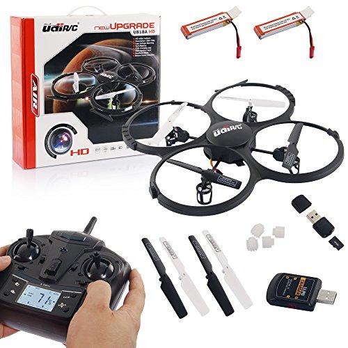 s-idee® UDI U818A HD Upgrade- RC UFO mit Akku und Camera - 3D Quadrocopter - Drohne 2,4Ghz - mit 4GB MicroSD Karte (Schwarz mit 2 Akkus)
