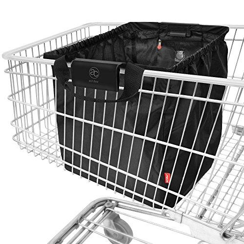 achilles Easy-Shopper, Faltbare Einkaufswagentasche, Einkaufstasche passend für alle gängigen Einkaufswagen, Tasche in schwarz, 54x35x39 cm