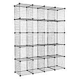 DJDL Wire Cube Storage Organizer 20-Cube Bookshelf, Metal Grid DIY Closet Cabinet, Closet Organizer Storage Shelves, Modular Bookcase, Storage Shelving for Home, Office, Bedroom, Black