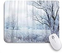 VAMIX マウスパッド 個性的 おしゃれ 柔軟 かわいい ゴム製裏面 ゲーミングマウスパッド PC ノートパソコン オフィス用 デスクマット 滑り止め 耐久性が良い おもしろいパターン (青い森冬の夕方の風景雪が降るクリスマスシーンの木の森暗い国)