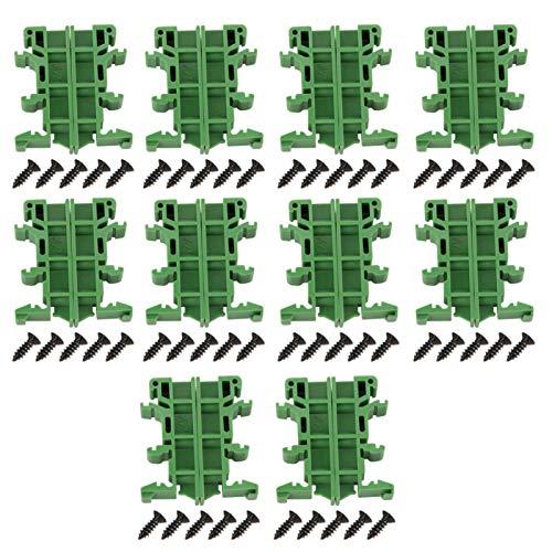 KUIDAMOS 10 Sätze KPRH-175 PCB DIN C45 Schienenmontageadapter Leiterplattenhalterung Halterung Trägerclips für Heimwerkerelektrik (grün)