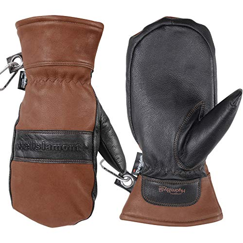 Men's Leather Winter Mittens, Water-Resistant, HydraHyde, 100 gram Thinsulate, Large (Wells Lamont 7668L), Chestnut (SS-SMS-4011603)
