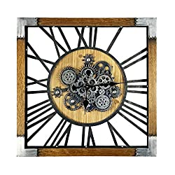 SevenUp Oversized Gear Wall Clock with Roman Numerals, 27.55 Mordern Stylish Wooden Frame Quartz Clocks for Living Room Bedrooms Lounge (27.55 inches) (27.55)