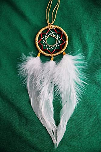 Bohemian White Feathers Native American Ethnic Tribal Dream Catcher Total Length 11.8 in (30cm), Hoop & Feathers Length is 8.7 in (22 cm), Hoop Width is 2.2 in (5.5 cm)