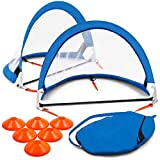 Training Equipment Pair of Pop Up Soccer Goals with Disc Cones, Blue