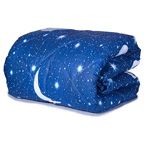 trapunta coperta piumone invernale imbottito matrimoniale /piazza e mezza /singolo stampa blu UNIVERSO 300 grammi (piazza e mezza)