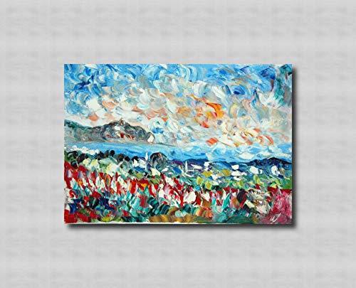 Zeitgenössische und zeitgenössische dekorative Leinwandrahmen, Wohnzimmer, abstrakte und originelle Gemälde wie die Impressionisten, handgemacht mit Öl auf Leinwand Puliafico - TINDARI E FIORI 50x70cm