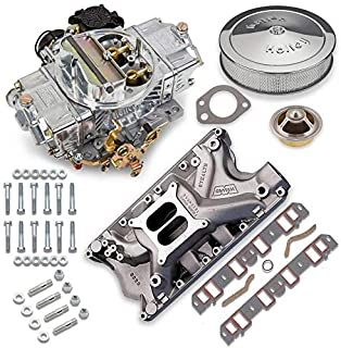 NEW HOLLEY STREET AVENGER CARBURETOR & WEIAND STEALTH INTAKE MANIFOLD COMBO,670 CFM,STRAIGHT,4 BBL,GASOLINE,VACUUM SECONDARIES,ELECTRIC CHOKE,COMPATIBLE WITH SMALL BLOCK FORD