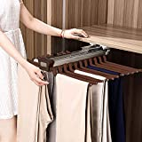 MYOYAY Pull Out Closet Pants Hanger Bar Steel Top Mounted Trousers Rack Clothes Organizers with 22 Arms for Space Saving and Storage, 23.4' x 18'x 5.7' 33LBS