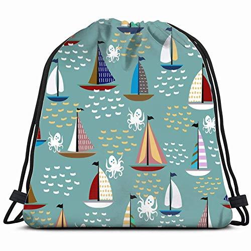 LREFON Bolsas de cuerdas para el gimnasio lindos barcos veleros mar olas pulpo transporte Mochilas Casual Unisex Escuela Bolsa de Cuerda Bolsas de Gimnasia 36*42cm