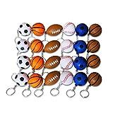 Abaodam Lot de 24 porte-clés en forme de ballon de rugby et de basket-ball en forme de balle de baseball créative, porte-clés unique, décoration de petit cadeau pour homme et femme