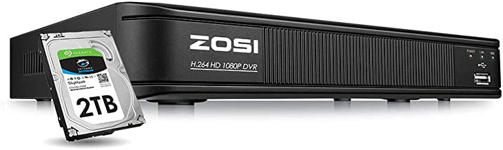 ZOSI 1080p Home Security DVR 8 Channel HD-TVI Hybrid Capability 4-in-1(Analog/AHD/TVI/CVI) Surveillance DVR Reorder,Motion Detection,Remote Control,Email Alarm,2TB Hard Drive Built-in