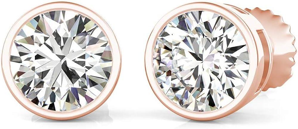 Bezel Set Max 87% OFF Round Cut Diamond Fancy 5 ☆ very popular Party Stud Earr Wear Solitaire