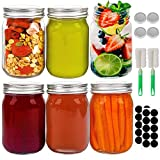 16oz Regular Mouth Glass Jars, 6pcs Glass Canning Jars with Silver Airtight Lids, Brushes and Labels, for Drinking, Meal Prep, Overnight Oats, Jam, Wedding Favors