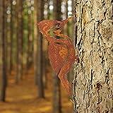 Specht Baumstecker edelrost deko - Metall Tierfigur Baumschmuck - Metall Rost Gartendeko - Gartendeko Rostoptik für Garten, Baum, Säule, Tor