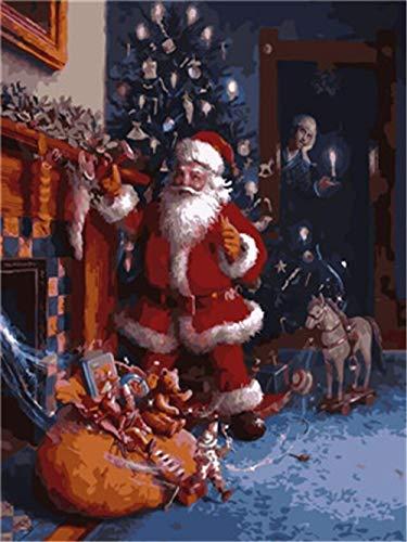 Schilderen door cijfers Kerstman geven geschenken DIY Canvas Olieverfkit voor kinderen volwassenen Acryl Tekening Schilderij met Penselen Foto's Kunst Woonkamer Decor(16x20inch)