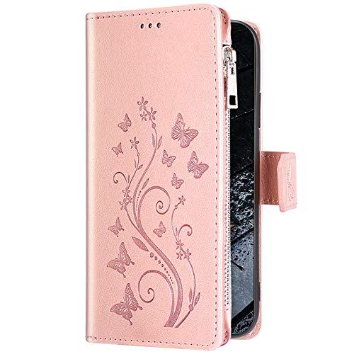 Uposao - Custodia a portafoglio per Huawei Mate 20 Lite, con chiusura lampo, in pelle, a portafoglio, con motivo a farfalla e fiore, motivo a fiori, colore: Rosa oro