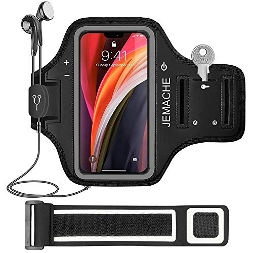 iPhone 12 Mini Armband, JEMACHE Water Resistant Gym Workouts Running Arm Band Case for iPhone 12 Mini (5.4inch) with Key Holder (Black)