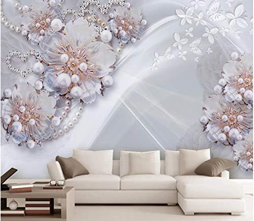 Aangepaste muurschildering 3D Diamond Sieraden Bloem Luxe Muur Papieren Home Decor Woonkamer Slaapbank TV Achtergrond 350x250cm