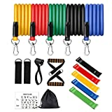 16pcs Resistance Bands Set with Handles Home Workout Equipment Exercise Bands for Resistance Training and Physical Therapy Working Out Door Anchor Ankle Straps Resistance Loop Bands