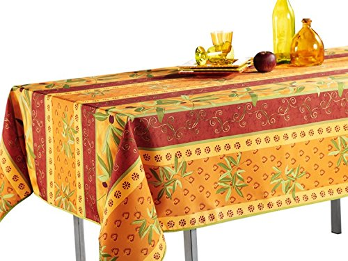 """My Jolie Home 60 x 138-Inch Rectangular Tablecloth Orange Rustic Olive, Stain Resistant, Washable, Liquid Spills, Seats 10 to 12 People (Other Size: 63"""" Round, 60 x 80, 60 x 95)"""