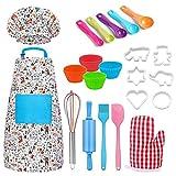 Buding Set de cocina para niños, juego de rol y juguete, set de repostería para niños, delantal y gorro de cocina, 30 piezas