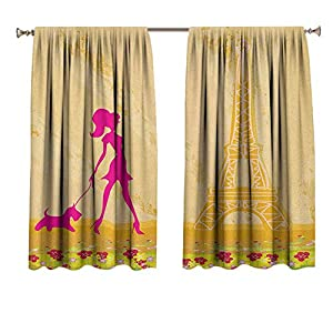 Teen Room Short Drapes/Bedroom Pink Silhouette of A Girl with The Dog Eiffel Tower in Paris Design Room Darkening Drape/Drapery
