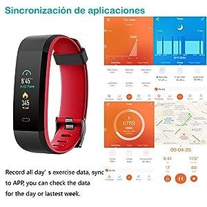 Willful Pulsera Actividad, Pulsera Actividad Inteligente Pantalla Color Reloj con Pulsómetro Impermeable IP68 Podómetro Pulsera Deportiva Reloj para Xiaomi Samsung Huawei Android iPhone iOS Teléfono