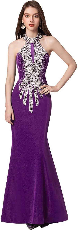 Datangep Elegant Memriad Halter Beaded Prom Dresses Evening Gowns Trumpet Backless Long