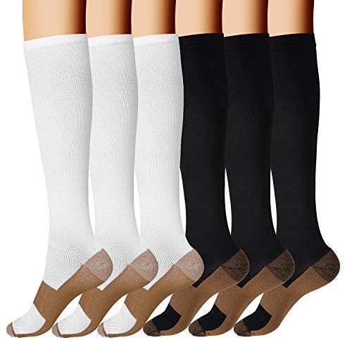 Copper Compression Socks for Men & Women- 6 Pairs Copper Fit Socks - Suit for Running, Athletic, Nurses, Pregnancy, Flight, and Traveling (D- Black/White, XXL)