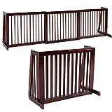 Freestanding Dog Gate Wooden Pet Gate Extra Wide with Adjustable Width 28'-80' for Doorways Indoor Stairs Corridor, 22' H, Cherry