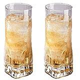 OPCIONAL 10OZ o 16oz Copa de vidrio martillada 2 piezas Conjunto de Whisky doméstico Whisky Extranjero Café Café Beber Tumbler Leave Free Clear Glass Set (Size : Medium)
