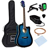 Best Choice Products 41in Full Size Beginner All Wood Cutaway Acoustic Guitar Starter Set with Case, Strap, Capo, Strings, Picks, Tuner - Blue