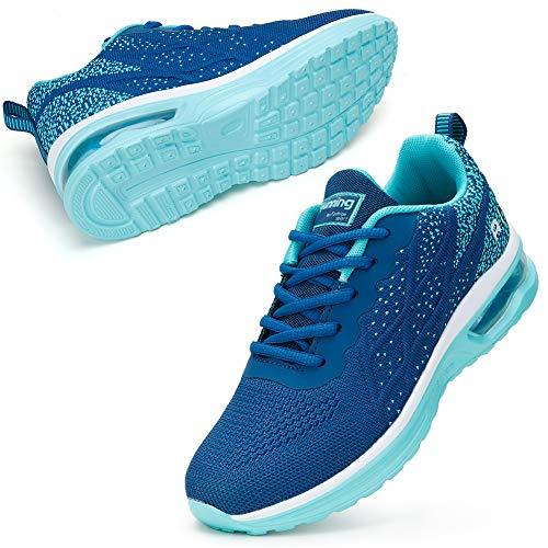 STQ Turnschuhe Damen Laufschuhe Atmungsaktiv Leichtgewichts Sportschuhe Sneaker Trainer für Fitness Gym Jogging Dunkelblaue 37 EU